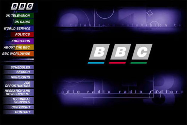 The BBC Online homepage in 1997