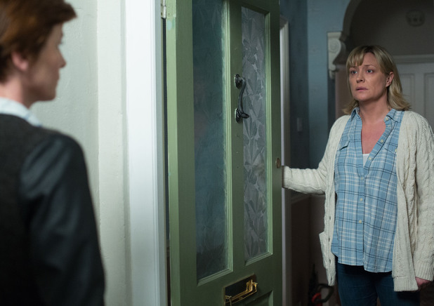 A shocked Jane opens the door to Gina.