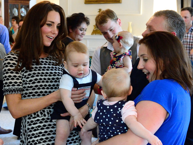 WELLINGTON, WELLINGTON - APRIL 09: Catherine, Duchess of Cambridge and Prince George of Cambridge attend a Plunket Play Group at Government House on April 9, 2014 in Wellington, New Zealand. The Duke and Duchess of Cambridge are on a three-week tour of Australia and New Zealand, the first official trip overseas with their son, Prince George of Cambridge. (Photo by Pool/Samir Hussein/WireImage) (Photo by Samir Hussein/WireImage)
