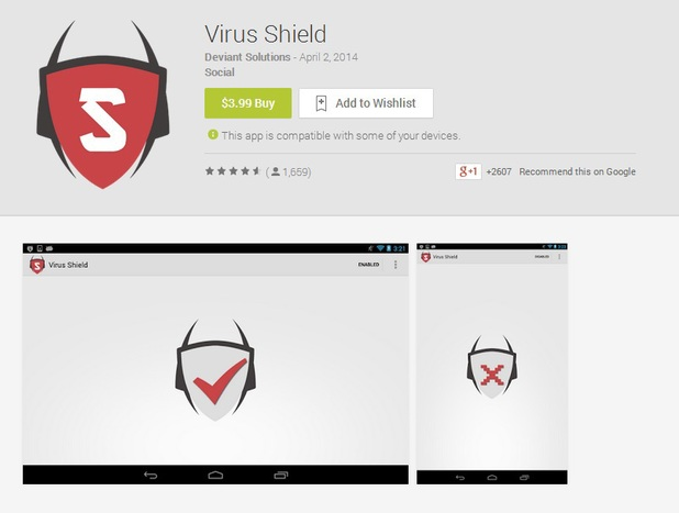Bogus Google Play app Virus Shield
