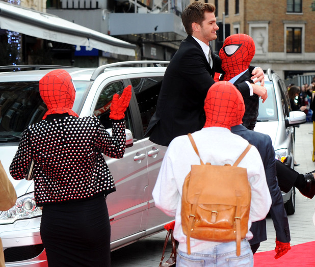 LONDON, ENGLAND - APRIL 10: Andrew Garfield attends the World Premiere of 'The Amazing Spider-Man 2' at Odeon Leicester Square on April 10, 2014 in London, England. (Photo by Anthony Harvey/Getty Images)