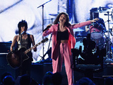 Joan Jett, Lorde and St. Vincent perform with Dave Grohl of Nirvana onstage at the 29th Annual Rock And Roll Hall Of Fame Induction Ceremony