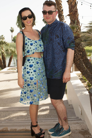 LA QUINTA, CA - APRIL 13: Recording Artists Katy Perry and Sam Smith attend Soho Desert House with Bacardi and Spotify Day 3 on April 13, 2014 in La Quinta, California. (Photo by Michael Bezjian/Getty Images for Soho House)