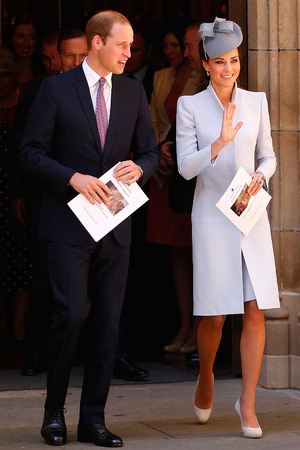 Prince William and Kate leaving St. Andrew's Cathedral for Easter Sunday Service in Sydney, Australia