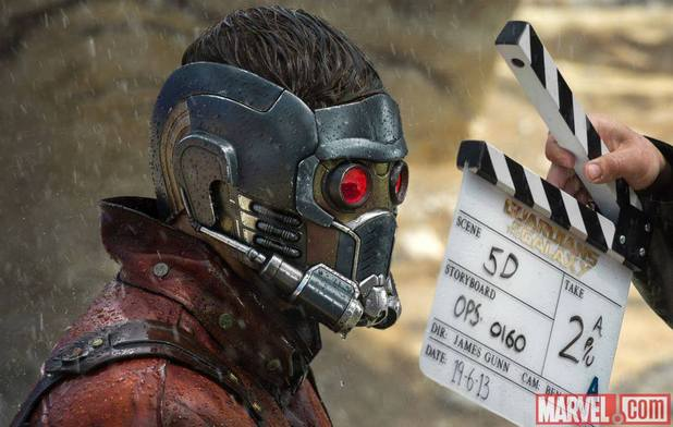 Chris pratt as star lord on the set of guardians of the galaxy