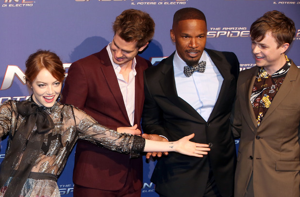 ROME, ITALY - APRIL 14: Dane Dehaan, Emma Stone, Jamie Foxx and Andrew Garfield attend 'The Amazing Spider-Man 2: Rise Of Electro' Rome Premiere on April 14, 2014 in Rome, Italy. (Photo by Franco Origlia/Getty Images)