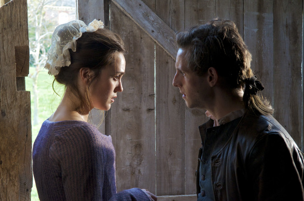 Heather Lind as Anna Strong and Jamie Bell as Abe Woodhull in AMC's Turn