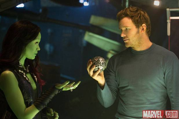 Zoe Saldana as Gamora & Chris Pratt as Star-Lord on the set of Guardians of the Galaxy