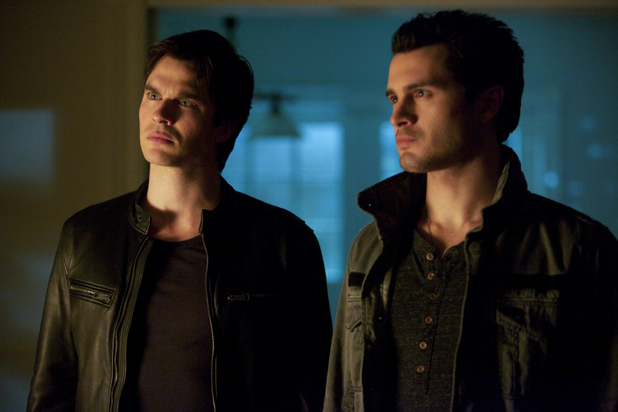 Ian Somerhalder as Damon and Michael Malarkey as Enzo in The Vampire Diaries S05E18: 'Resident Evil'