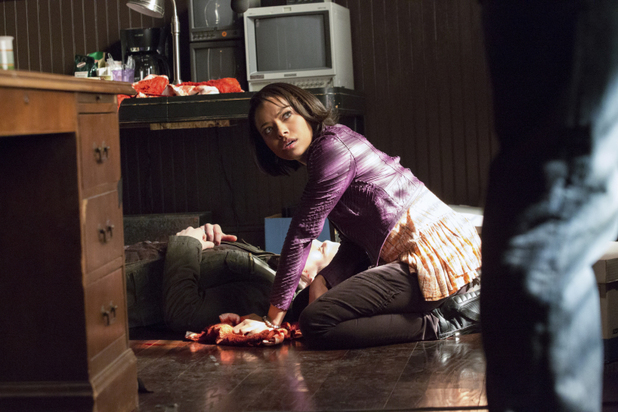 Kat Graham as Bonnie and Steven R. McQueen as Jeremy in The Vampire Diaries S05E18: 'Resident Evil'