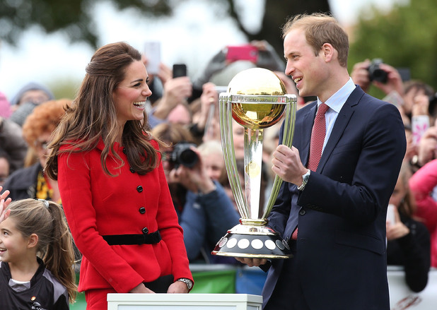 CHRISTCHURCH, NEW ZEALAND - APRIL 14: Catherine, Duchess of Cambridge and Prince William, Duke of Cambridge are seen lifting the 2015 Cricket World Cup at a 2015 Cricket World Cup event at Latimer Squareon April 14, 2014 in Christchurch, New Zealand. The Duke and Duchess of Cambridge are on a three-week tour of Australia and New Zealand, the first official trip overseas with their son, Prince George of Cambridge. (Photo by Danny Martindale/WireImage)