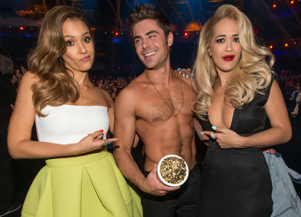 Jessica Alba, Zac Efron & Rita Ora at the MTV Movie Awards 2014