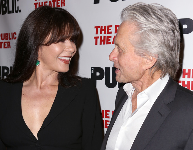 NEW YORK, NY - APRIL 15: Actors Catherine Zeta-Jones and Michael Douglas attend 'The Library' opening night celebration at The Public Theater on April 15, 2014 in New York City. (Photo by Dimitrios Kambouris/Getty Images)