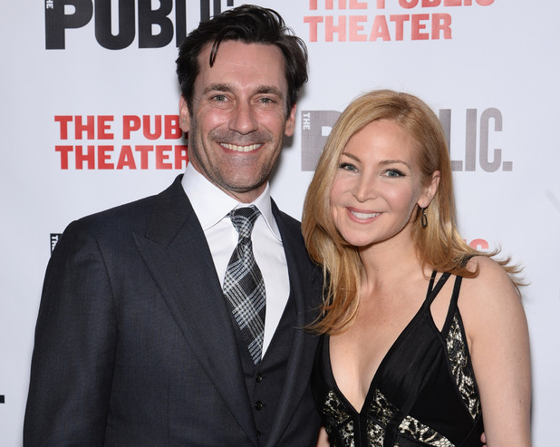 NEW YORK, NY - APRIL 15: Actors Jon Hamm and Jennifer Westfeldt attend 'The Library' opening night celebration at The Public Theater on April 15, 2014 in New York City. (Photo by Dimitrios Kambouris/Getty Images)