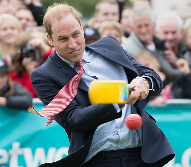 Caption:Britain's Prince William plays a game of cricket during a visit to Latimer Square in Christchurch on April 14, 2014. Prince William, his wife Kate and their son Prince George are on a three-week tour of New Zealand and Australia. AFP PHOTO / MARTY MELVILLE (Photo credit should read Marty Melville/AFP/Getty Images)