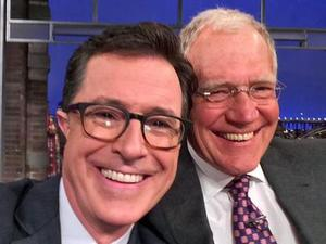 David Letterman welcomes Stephen Colbert to Late Show with selfie