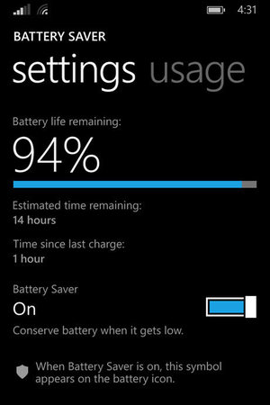Windows Phone 8.1: Battery Saver