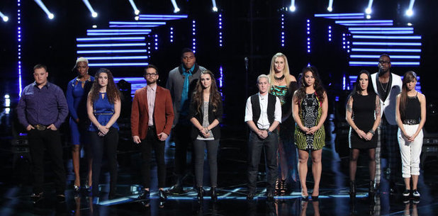 The Voice - Live Show with Sisaundra Lewis, Jake Worthington, Audra McLaughlin, TJ Wilkins, Josh Kaufman, Bria Kelly, Carson Daly, Dani Moz, Kristen Merlin, Tess Boyer, Delvin Choice, Kat Perkins and Christina Grimmie.