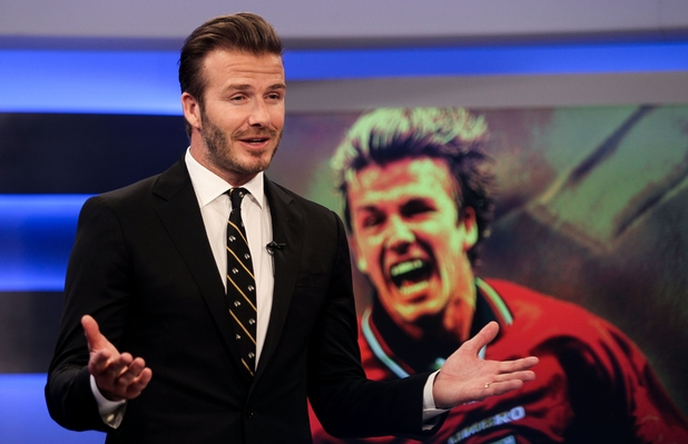 David Beckham attends a television show taping at China Central Television