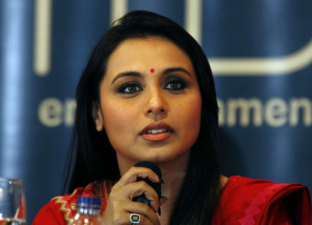 "Rani Mukerji speaks during a press conference ahead of Bollywood actor Shah Rukh Khan's ""Temptation Reloaded"" concert"