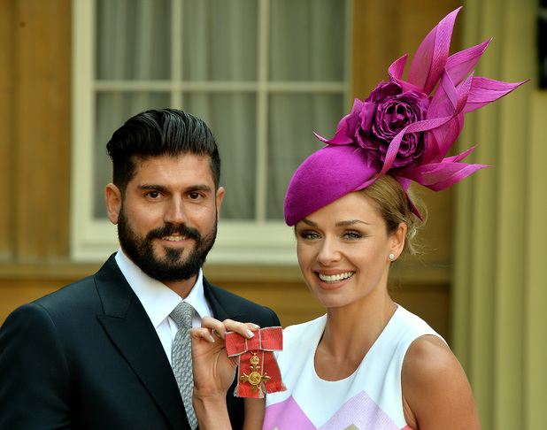 Katherine Jenkins with Andrew Levitas, receiving her OBE at Buckingham Palace