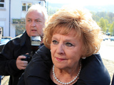 Coronation Street actress Barbara Knox leaves Macclesfield Magistrates' Court, with her solicitor Nick Freeman (right), following her appearance in court accused of drink driving. Picture date: Thursday April 24, 2014. Knox - who plays the role of Rita Tanner in the ITV soap - was charged following an incident in Knutsford, Cheshire, on March 10. See PA story COURTS Knox. Photo credit should read: Peter Byrne/PA Wire