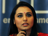 """Rani Mukerji speaks during a press conference ahead of Bollywood actor Shah Rukh Khan's """"Temptation Reloaded"""" concert"""