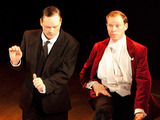 Mark Hadfield, Mark Heap and Robert Webb at the curtain call as West End production 'Jeeves and Wooster in Perfect Nonsense'