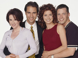 Megan Mullally as Karen Walker, Eric McCormack as Will Truman, Debra Messing as Grace Adler, Sean Hayes as Jack McFarland in Will & Grace