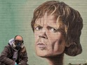 A mural of Tyrion Lannister is unveiled in Manchester by graffiti artist Akse.