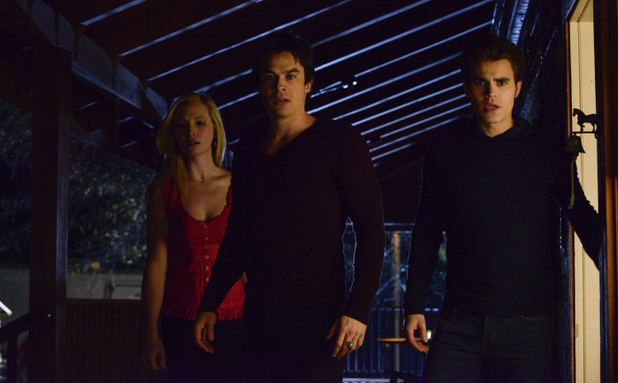 Candice Accola as Caroline, Ian Somerhalder as Damon and Paul Wesley as Stefan in The Vampire Diaries S05E20: 'What Lies Beneath'