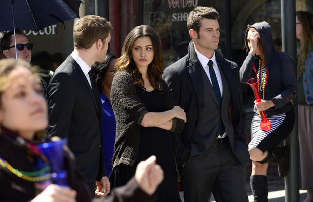 Joseph Morgan as Klaus, Phoebe Tonkin as Hayley, and Daniel Gillies as Elijah in The Originals S01E20: 'A Closer Walk with Thee'