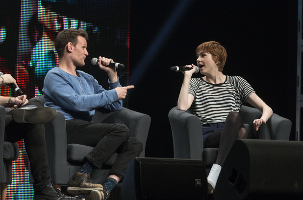 CALGARY, AB - APRIL 26: (L-R) Actors Matt Smith and Karen Gillan share their experiences on 'Dr Who' in the 'Spotlight on Matt Smith and Karen Gillan' panel discussion at the Stampede Corral during the Calgary Expo/ Comic and Entratainment Expo on April 26, 2014 in Calgary, Canada. (Photo by Phillip Chin/Getty Images)