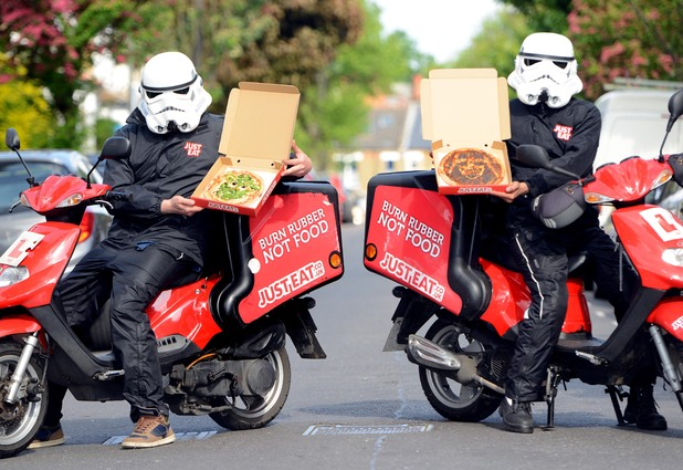 Pizza drivers with their Star Wars themed pizzas
