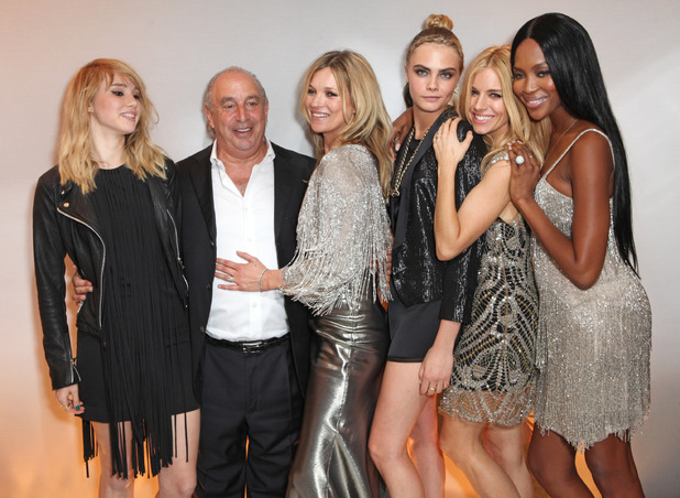 LONDON, ENGLAND - APRIL 29: (L to R) Suki Waterhouse, Sir Philip Green, Kate Moss, Cara Delevingne, Sienna Miller and Naomi Campbell attend a private dinner celebrating the Global Launch of the 'Kate Moss for TopShop Collection' at The Connaught Hotel on April 29, 2014 in London, England. (Photo by David M. Benett/Getty Images)