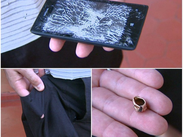 A Lumia 520 after being hit by a bullet