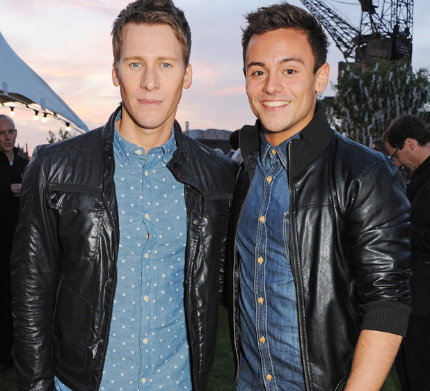Tom Daley and Dustin Lance Black at the Battersea Power Station party
