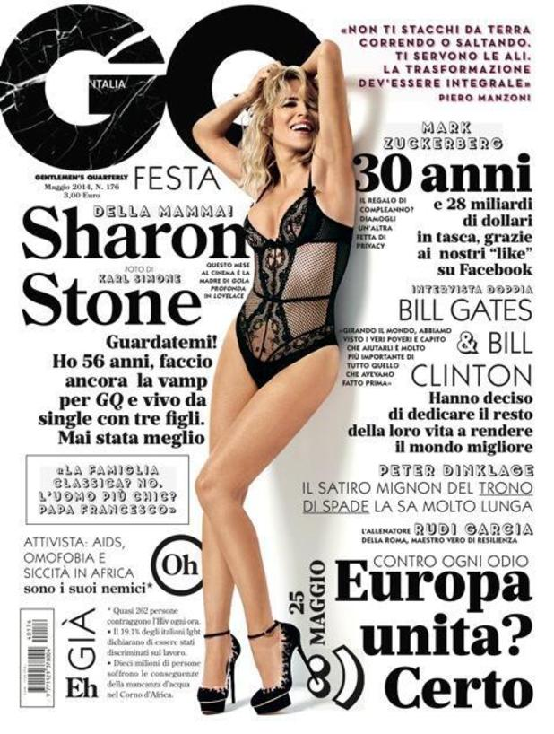 Sharon Stone covers GQ Italia's May issue