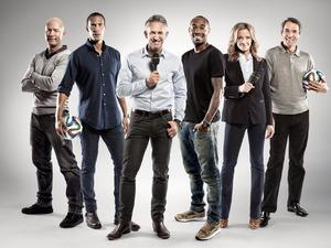 The BBC World Cup 2014 television presenter team Alan Shearer, Rio Ferdinand, Gary Lineker, Thierry Henry, Gabby Logan, Alan Hansen