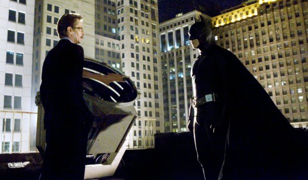 Gary Oldman and Christian Bale in Batman Begins (2005)