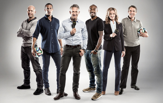 The BBC World Cup 2014 television presenter team Alan Shearer, Rio Ferdinand, Gary Lineker, Thierry Henry, Gabby Logan, Alan Hansen
