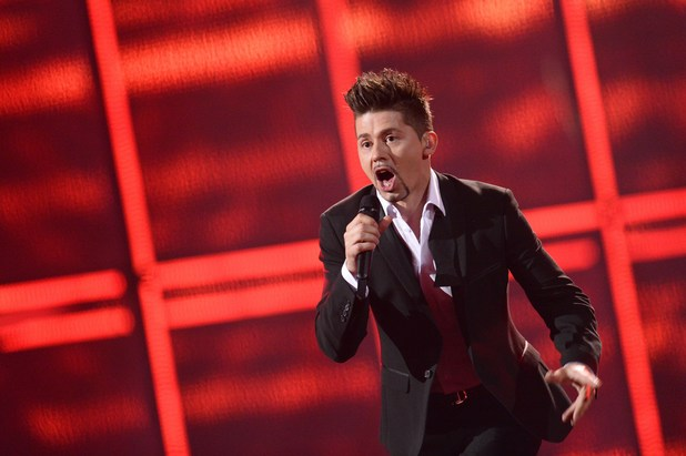 Teo representing Belarus performs during the Eurovision Song Contest 2014 Grand Final
