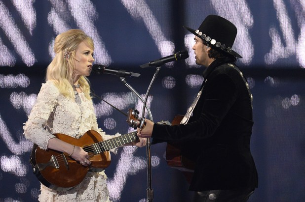 The Common Linnets representing the Netherlands perform during the Eurovision Song Contest 2014 Grand Final