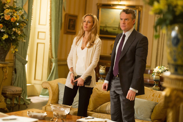 Kim Raver as Audrey and Tate Donovan as Mark in 24: Live Another Day: 12:00PM - 1:00PM