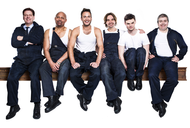 The cast of The Full Monty in promotional picture