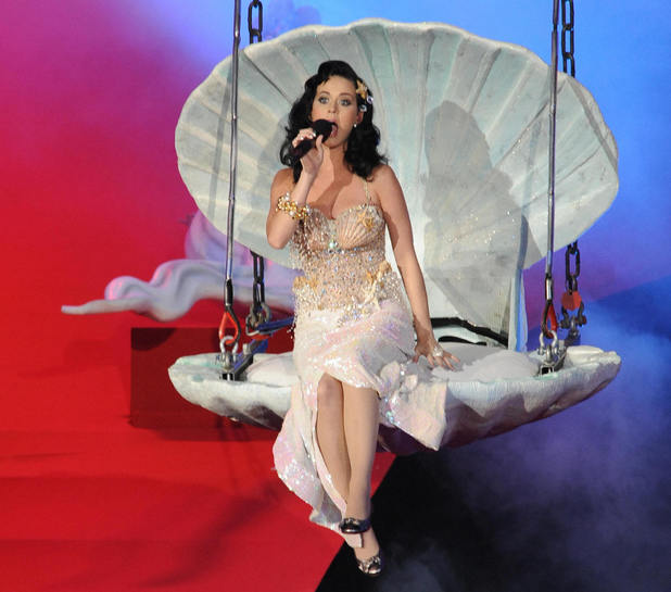 US singer-songwriter Katy Perry performs on stage during the 17th Life Ball in Vienna on May 16, 2009. Life Ball is Europe's largest annual AIDS charity and the organisers this year hope to raise more than one million euros (about 1.6 million USD) to help people living with HIV.AFP PHOTO/JOE KLAMAR (Photo credit should read JOE KLAMAR/AFP/Getty Images)