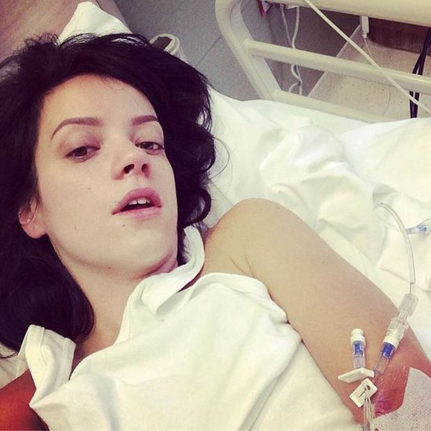 Lily Allen messages from her hospital bed