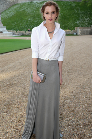 WINDSOR, ENGLAND - MAY 13: Emma Watson attend a dinner to celebrate the work of The Royal Marsden hosted by the Duke of Cambridge on May 13, 2014 in Windsor, England. (Photo by Doug Seeburg-Pool/Getty Images)