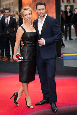 LONDON, ENGLAND - MAY 11: Sam Taylor Wood and Aaron Taylor Johnson attends the European premiere of 'Godzilla' at the Odeon Leicester Square on May 11, 2014 in London, England. (Photo by Ian Gavan/Getty Images)