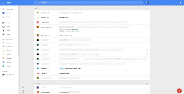 Leaked screenshot of the overhauled Gmail